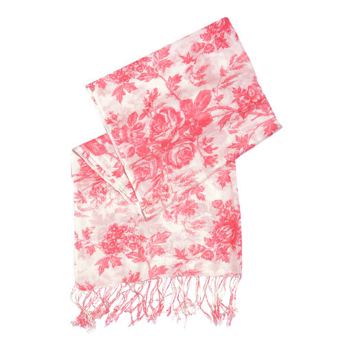 Pink and White Colour Floral Printed Scarf with Tassels (Size 180X70 Cm)