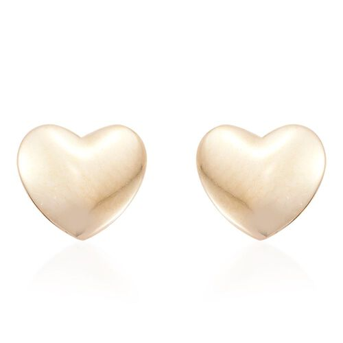 9K Yellow Gold Plain Heart Stud Earrings