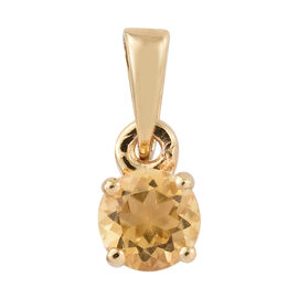 Citrine (Rnd) Solitaire Pendant in 14K Gold Overlay Sterling Silver 0.500 Ct.
