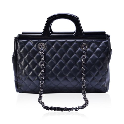 Black Colour Diamond Pattern Tote Bag ( Size 33x23x9.5 Cm)