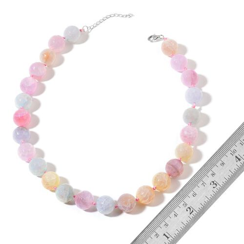 Multi Agate Enhanced Necklace (Size 18) in Rhodium Plated Sterling Silver 645.000 Ct.