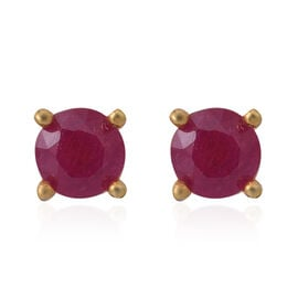 One Time Deal- African Ruby (Rnd) Stud Earrings (with Push Back) in 14K Gold Overlay Sterling Silver 1.000 Ct.