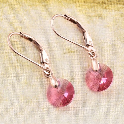 J Francis Crystal from Swarovski - Rose Colour Crystal (Rnd) Lever Back Earrings in Rose Gold Overlay Sterling Silver