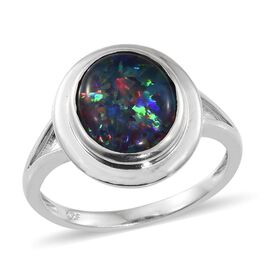 Australian Boulder Opal (Ovl) Solitaire Ring in Platinum Overlay Sterling Silver 3.000 Ct.