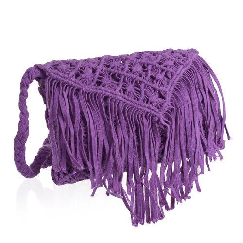 Purple Full Fringes Crossbody Bag (Size 22x14 Cm)