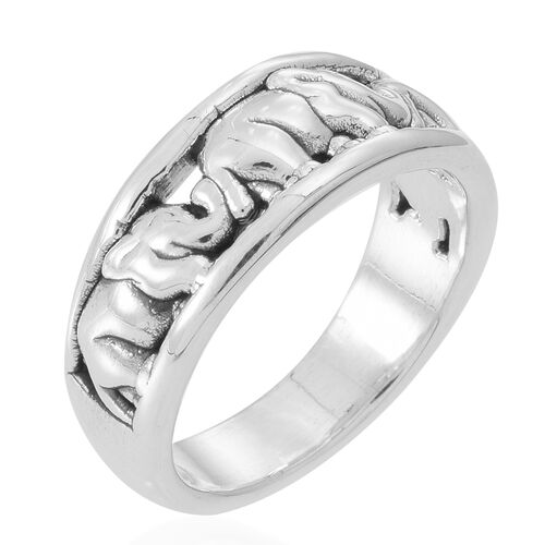 Thai Sterling Silver Elephant Band Ring, Silver wt 4.72 Gms.