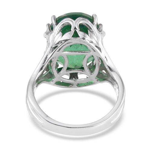 Peacock Quartz (Ovl) Ring in Platinum Overlay Sterling Silver 13.500 Ct.