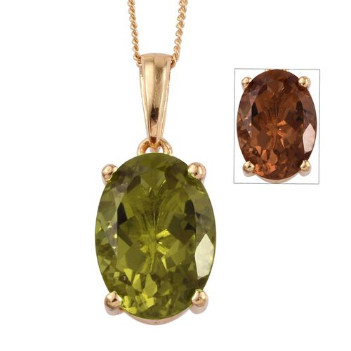 Alexite (Ovl) Solitaire Pendant With Chain in 14K Gold Overlay Sterling Silver 5.250 Ct.