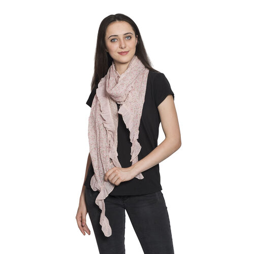 100% Cotton Multi Colour Floral Printed Ruffled Light Pink Colour Scarf (Size 200x40 Cm)