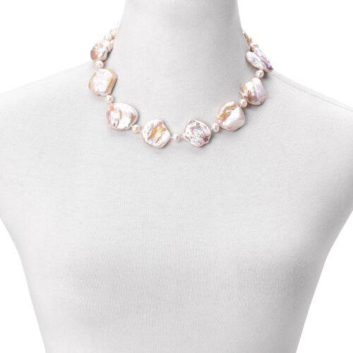 ILIANA 18K W Gold AAAA Very Rare Organic Keshi Pearl Necklace (Size 18)