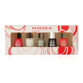 Mavala- Party Nights 5 x Nail Polish 5ml- Sunset Orange, Arty Pink, Antartic, Sparkling Silver and Black Night