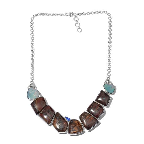 One Off A Kind- Boulder Opal Rock and Opal Double Necklace (Size 18 with 1 inch Extender) in Sterling Silver 205.300 Ct. Silver wt 29.24 Gms.