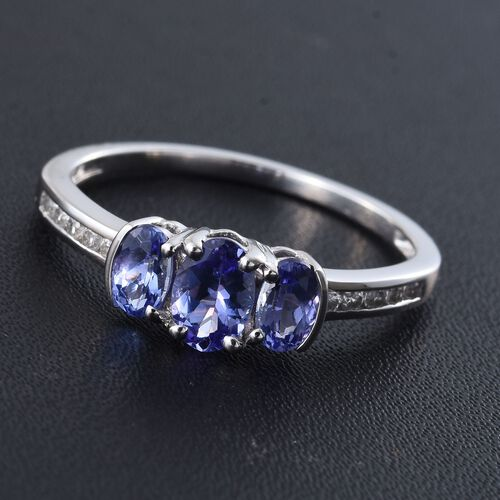 9K White Gold 1.15 Ct AA Tanzanite Ring with Natural Cambodian Zircon