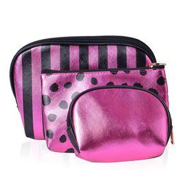 Set of 3 - Black and Dark Pink Colour Stripe Pattern Big Cosmetic Bag (Size 23x15x7 Cm), Dots Pattern Middle Cosmetic Bag (Size 19x12x6 Cm) and Small Cosmetic Bag (Size 15x10x5 Cm)