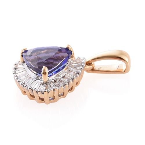 ILIANA 18K Yellow Gold AAA Tanzanite (Ovl 1.25 Ct), Diamond (SI G-H) Pendant 1.550 Ct.