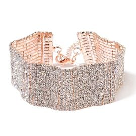 Designer Inspired - AAA White Austrian Crystal Wavy Bracelet (Size 7.5 with 2 inch Extender) in Rose Gold Tone
