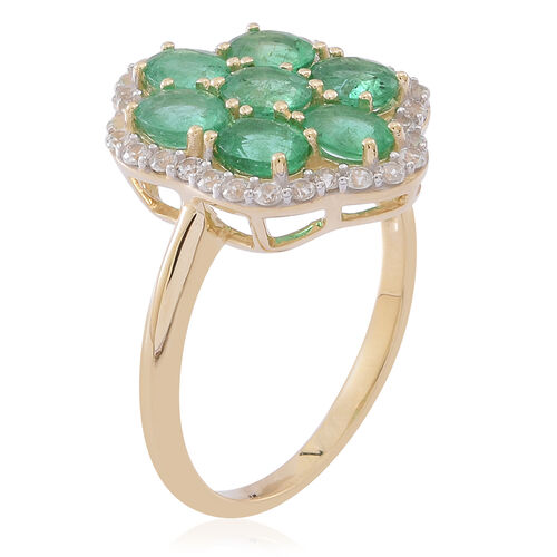 9K Y Gold AA Kagem Zambian Emerald (Ovl), Natural Cambodian White Zircon Ring 2.750 Ct.