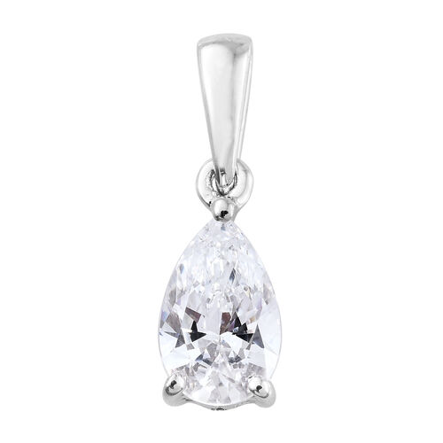 J Francis - 9K White Gold (Pear) Solitaire Pendant Made with SWAROVSKI ZIRCONIA