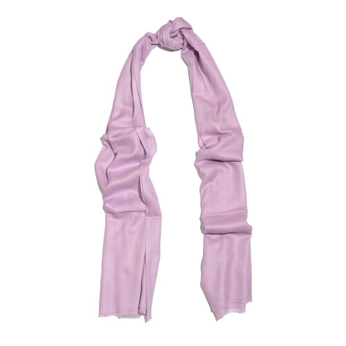100% Cashmere Wool Lavender Colour Shawl with Fringes (Size 200X70 Cm)