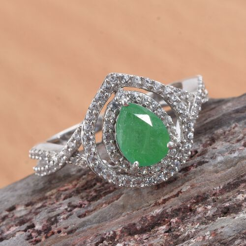 Kagem Zambian Emerald (Pear 1.00 Ct), Natural Cambodian Zircon Ring in Platinum Overlay Sterling Silver 1.750 Ct.