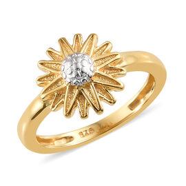 14K Gold Overlay Sterling Silver Flower Ring, Silver wt 3.04 Gms.