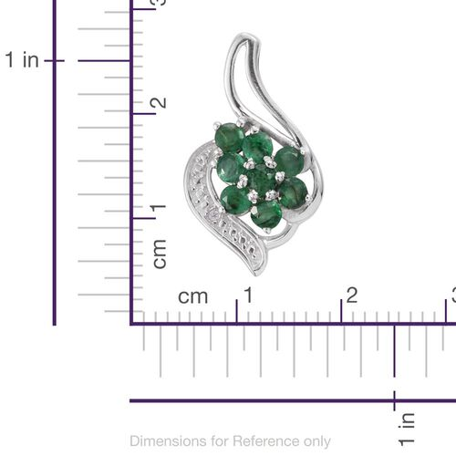 Brazilian Emerald (Rnd), Natural Cambodian Zircon Pendant in Platinum Overlay Sterling Silver 0.900 Ct.