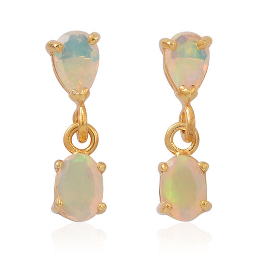 Ethiopian Welo Opal (Ovl) Earrings (with Push Back) in 14K Gold Overlay Sterling Silver 1.250 Ct.