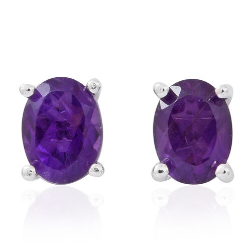Brazilian Amethyst (Ovl) Stud Earrings (with Push Back) in Rhodium Plated Sterling Silver 2.500 Ct.