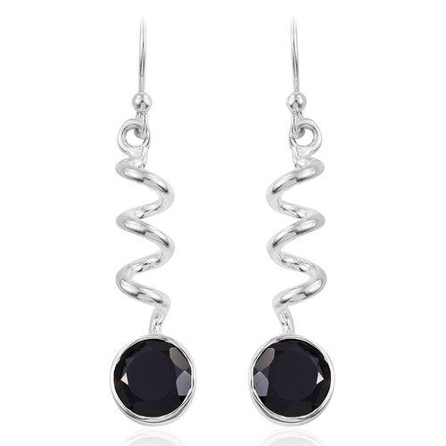 Boi Ploi Black Spinel (Rnd) Curl Hook Earrings in Sterling Silver 5.260 Ct. Silver wt. 4.48 Gms.