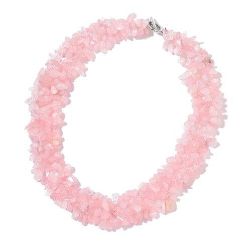 Designer Inspired - Hand Set Rose Quartz Necklace (Size 18 with 2 inch Extender) in Silver Tone and Stretchable Bracelet (Size 7.5) 900.000 Ct.