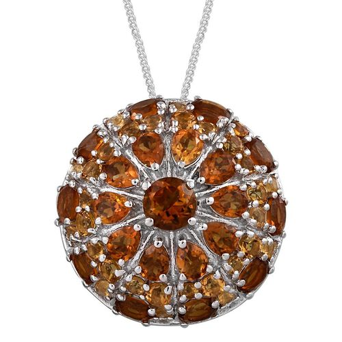 GP Madeira Citrine (Rnd 0.50 Ct), Citrine and Kanchanaburi Blue Sapphire Pendant With Chain in Platinum Overlay Sterling Silver 4.750 Ct.