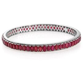 Designer Inspired- AAA African Ruby (Ovl) Bangle (Size 7.5 / Large) in Platinum Overlay Sterling Silver 20.750 Ct.