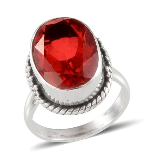Jewels of India Padparadscha Colour Quartz (Ovl) Solitaire Ring in Sterling Silver 9.080 Ct.