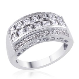 J Francis - Platinum Overlay Sterling Silver (Sqr) Ring Made with SWAROVSKI ZIRCONIA 1.330 Ct.