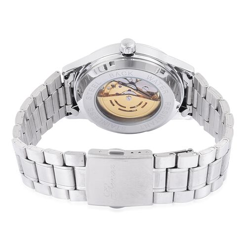 GENOA Automatic Skeleton Golden and White Dial Watch in Silver Tone with Stainless Steel and Glass Back
