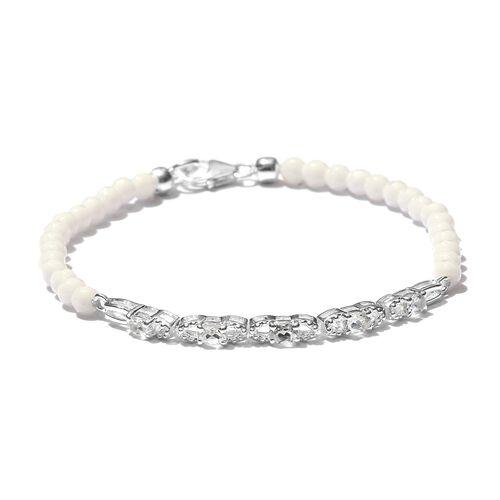 New Concept-White Topaz (Ovl), White Quartzite Bracelet (Size 7.5) in Sterling Silver 16.380 Ct.
