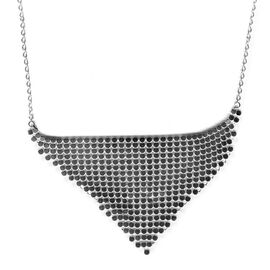 Vicenza Collection 14K White Gold Overlay Sterling Silver Designer Necklace (Size 20 Including Extension), Silver wt 16.00 Gms.