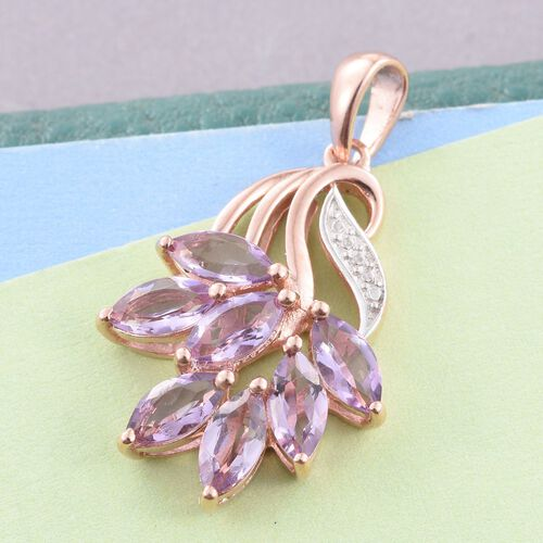 Rose De France Amethyst (Mrq) Pendant in Rose Gold Overlay Sterling Silver 2.500 Ct.