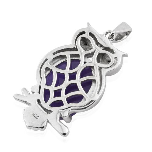 Purple Jade (Ovl), Boi Ploi Black Spinel Owl Pendant in Platinum Overlay Sterling Silver 11.500 Ct. Silver wt 5.08 Gms.