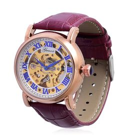 GENOA Automatic Skeleton Water Resistant Watch in Rose Gold Tone with Glass Back and Purple Colour Leather Strap