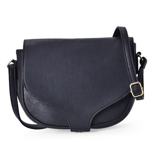 Black Colour Crossbody Saddle Bag with Adjustable Shoulder Strap (Size 20x17x6 Cm)