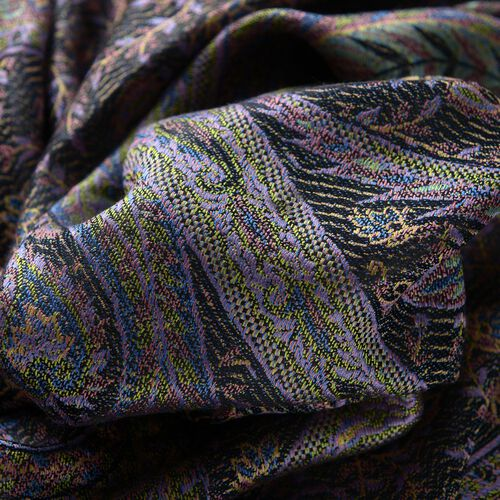 SILK MARK - 100% Superfine Silk Violet and Multi Colour Paisley and Floral Pattern Black Colour Jacquard Jamawar Shawl with Fringes (Size 180x70 Cm) (Weight 125-140 Grams)