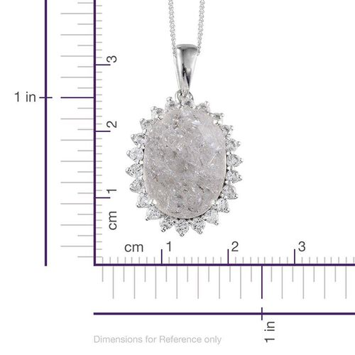 White Crackled Quartz (Ovl 10.00 Ct), White Topaz Pendant With Chain in Platinum Overlay Sterling Silver 10.750 Ct.