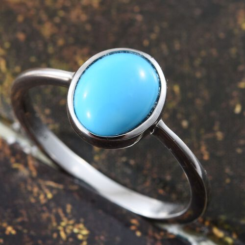 RHAPSODY 950 Platinum AAAA Arizona Sleeping Beauty Turquoise (Ovl) Solitaire Ring 1.400 Ct.Platinum Wt 3.66 Gms
