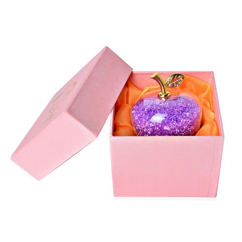 Exclusive Edition- Hand Crafted Purple Enchanted Apple Facted Ornament presented in a Velvet Lined Gift Box (Size 10x3 Cm)