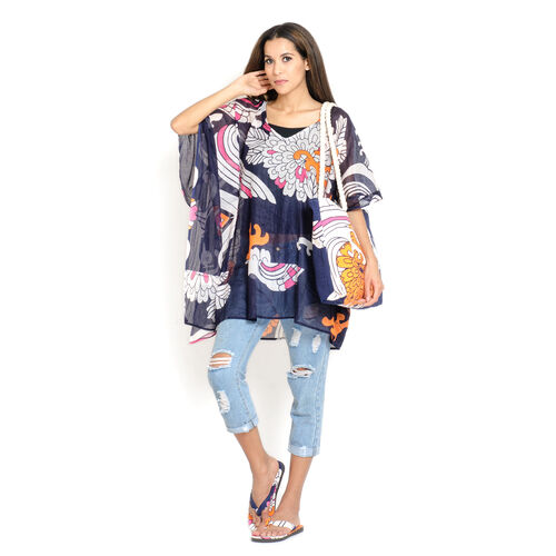 100% Cotton Blue, White, Pink and Multi Colour Floral Printed Kaftan (Free Size), Bag (Size 50x40 Cm) and Flip Flop