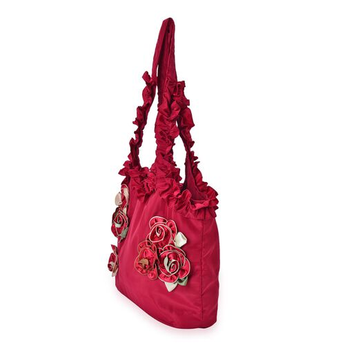 3D Rose Flowers and Ruffle Embellished Burgundy Colour Tote Bag (Size 31X26.5X10 Cm)