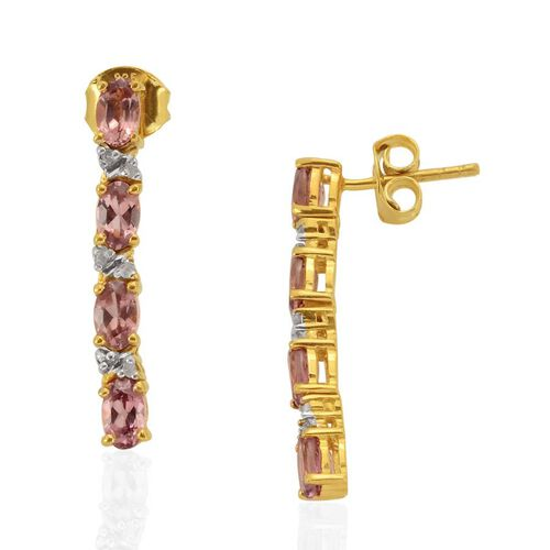 Malaya Garnet (Ovl), Diamond Drop Earrings (with Push Back) in 14K Gold Overlay Sterling Silver 2.180 Ct.