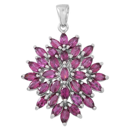 Rhodolite Garnet (Mrq) Floral Pendant in Rhodium Plated Sterling Silver 6.000 Ct.