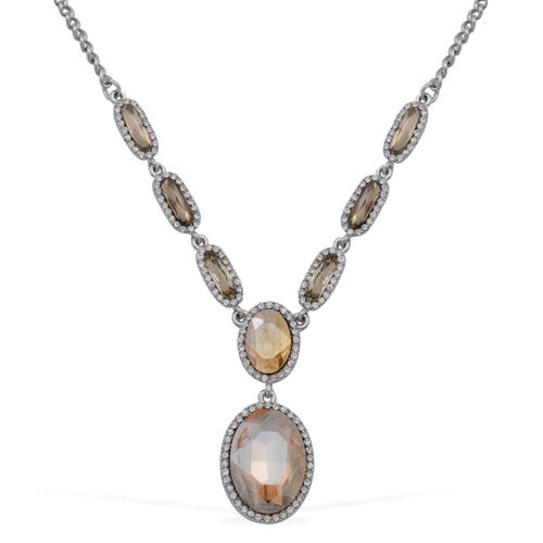 Champagne Glass and White Austrian Crystal Necklace (Size 16 with 2 inch Extender) in Silver Tone